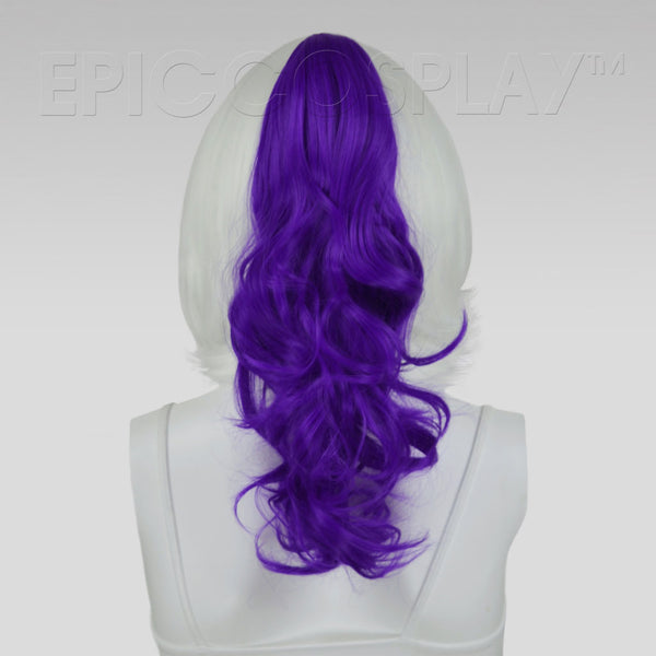 "20"" Lux Purple Wavy Curly Ponytail Clipon"