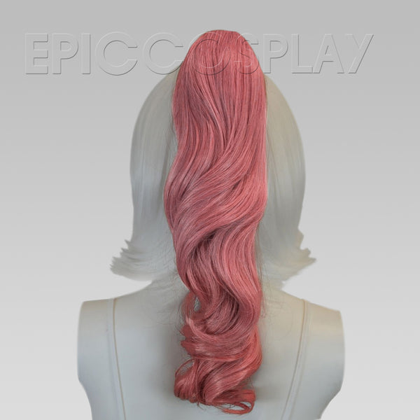 "20"" Princess Dark Pink Mix Wavy Curly Ponytail Clipon"