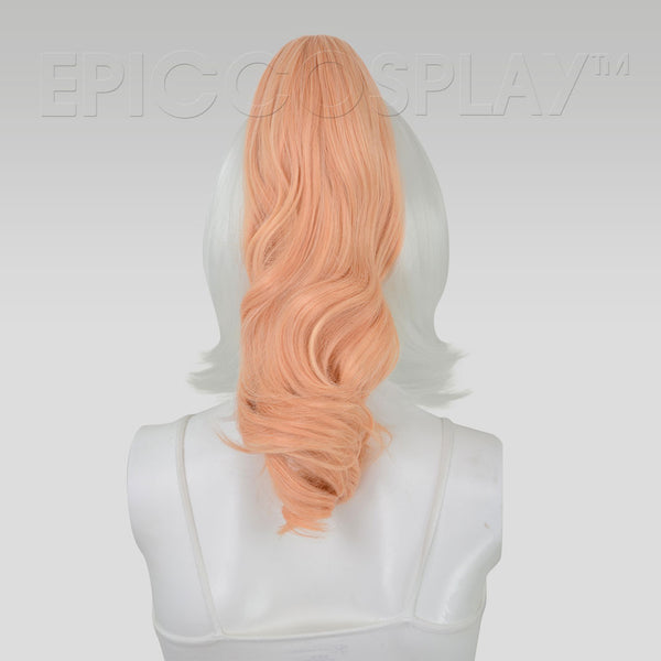 "20"" Peach Blonde Wavy Curly Ponytail Clipon"