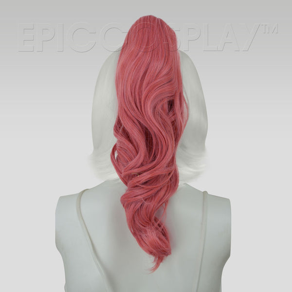 "20"" Persimmon Pink Wavy Curly Ponytail Clipon"