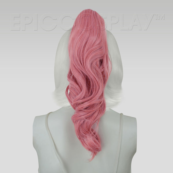 "20"" Princess Pink Mix Wavy Curly Ponytail Clipon"