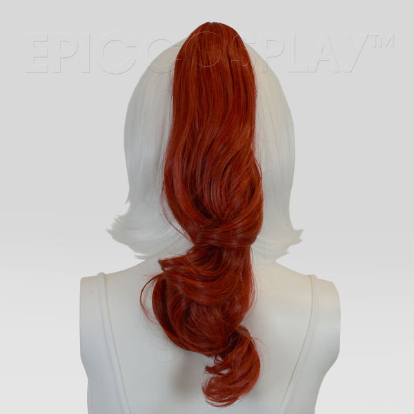 "20"" Apple Red Mix Wavy Curly Ponytail Clipon"