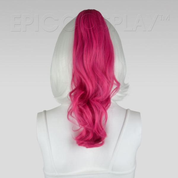 "20"" Raspberry Pink Wavy Curly Ponytail Clipon"