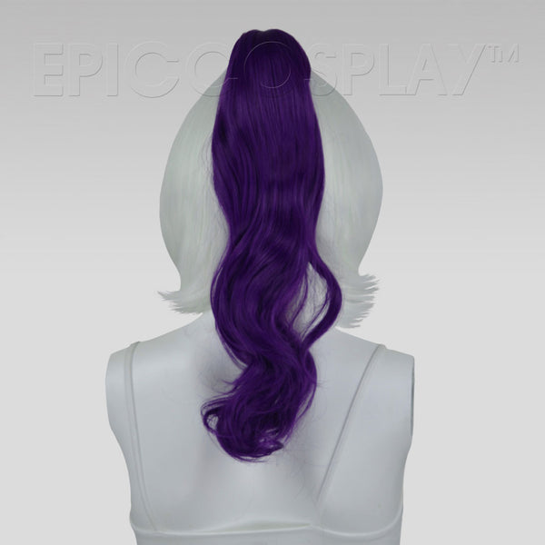 "20"" Royal Purple Wavy Curly Ponytail Clipon"