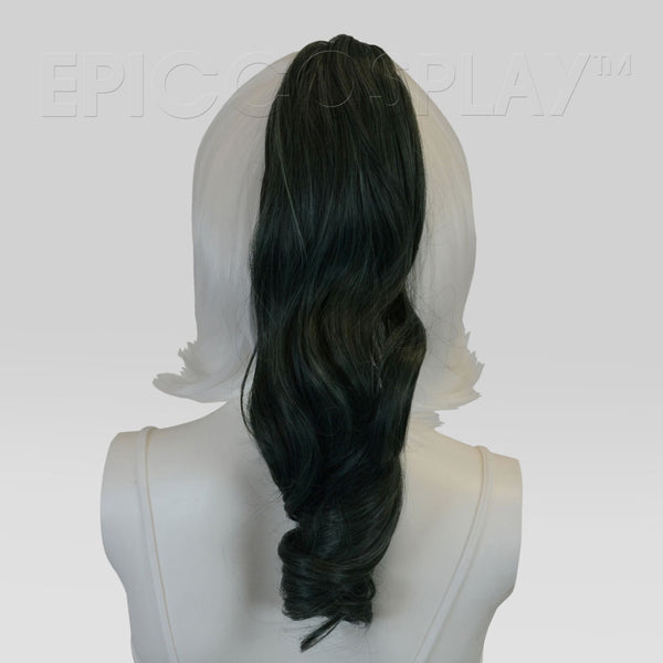 "20"" Forest Green Mix Wavy Curly Ponytail Clipon"