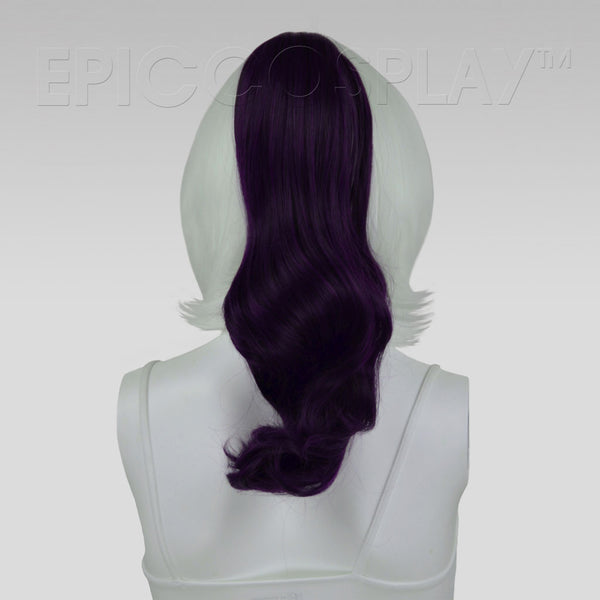 "20"" Purple Black Fusion Wavy Curly Ponytail Clipon"