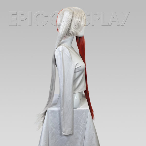 Eos - Silvery Grey and Dark Red Wig