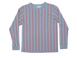 STRIPED LS - HEATHER GREY