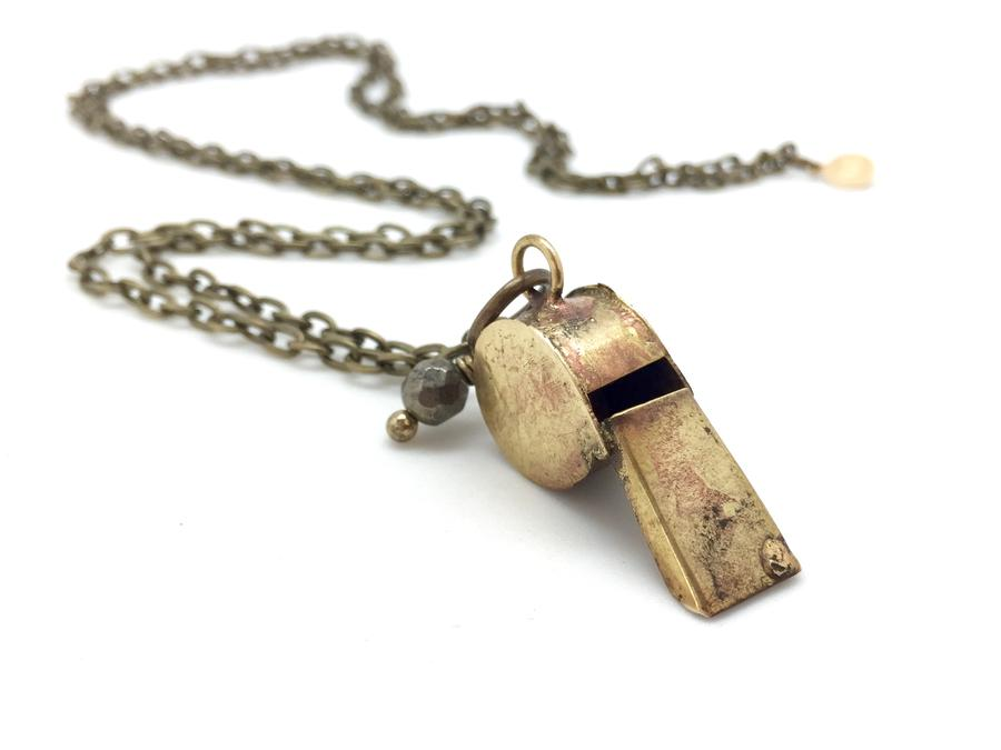 Brass Mini Whistle Necklace
