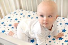 Organic Crib Sheet Blue Stars