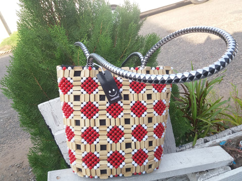 Red & White Wood bag