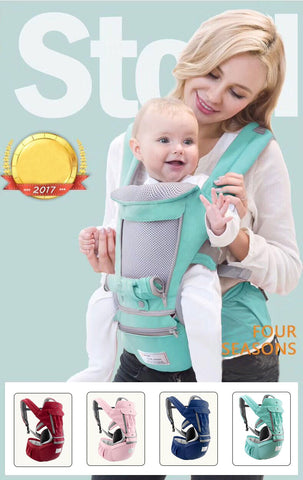 AIEBAO Ergonomic Baby Carrier Infant Kid Baby Hipseat Sling Front Facing Kangaroo Baby Wrap Carrier for Baby Travel