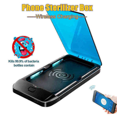 UV Phone Sanitizer Box, UV Phone Sanitizer and Screen Cleaner With Fast Wireless Charger