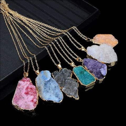 Natural Crystal Quartz Healing Point Chakra Bead Rhinestone Pendant Necklace - Necklace