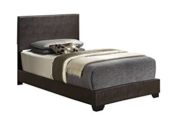 Cappuccino - Twin Size - Modern Headboard Leather Look Upholstered Platform Bed