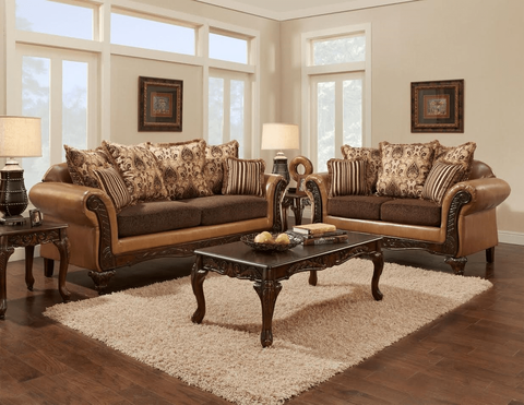 BRONZE SOFA AND LOVE SEAT SET