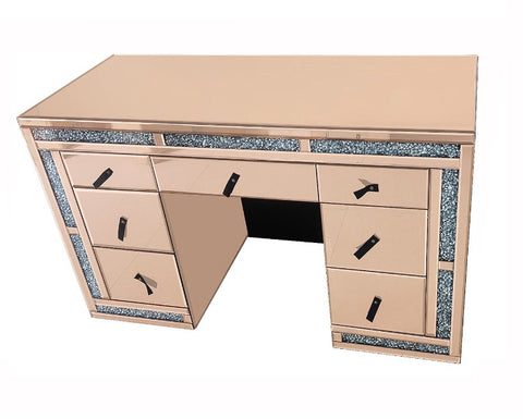 Rose Gold Crushed Glass Vanity Table