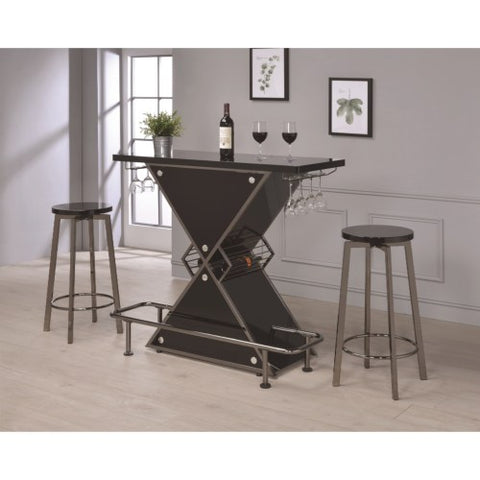 Bar Units and Bar Tables Contemporary X-Shaped Bar and Stool Set