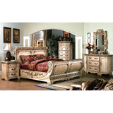 Cannes Bedroom Set - Gondola Sleigh Bed, Whitewash