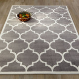 Ottomanson Paterson Collection Contemporary Moroccan Trellis Design Lattice Area Rug, 5'3 x 7'0, Grey