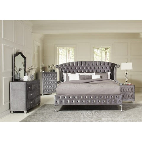 Deanna Upholstered Queen Bed with Nailhead Trim and Button Tufting