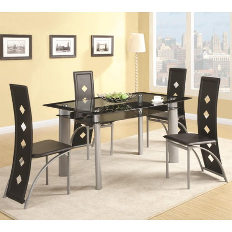 Fontana Glass Top Table with Vinyl Chair Set