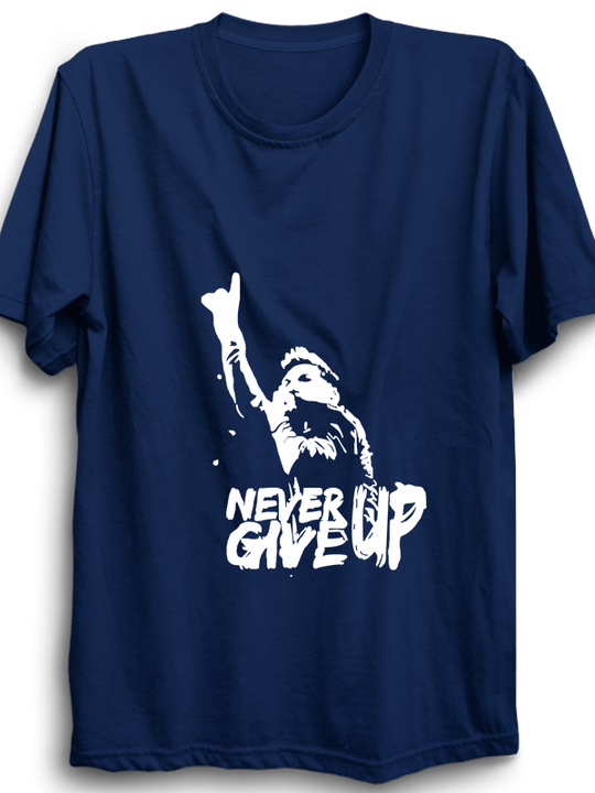 never give up navy blue half sleeves Tshirt