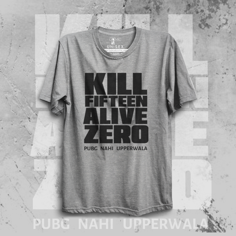 UPPERWALA PUBG - grey half sleeves Tshirt