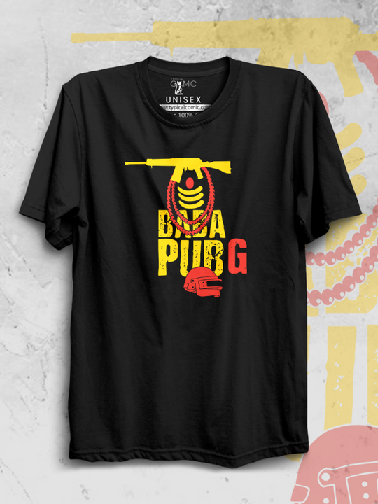 BABA PUBG - black round neck t-shirt