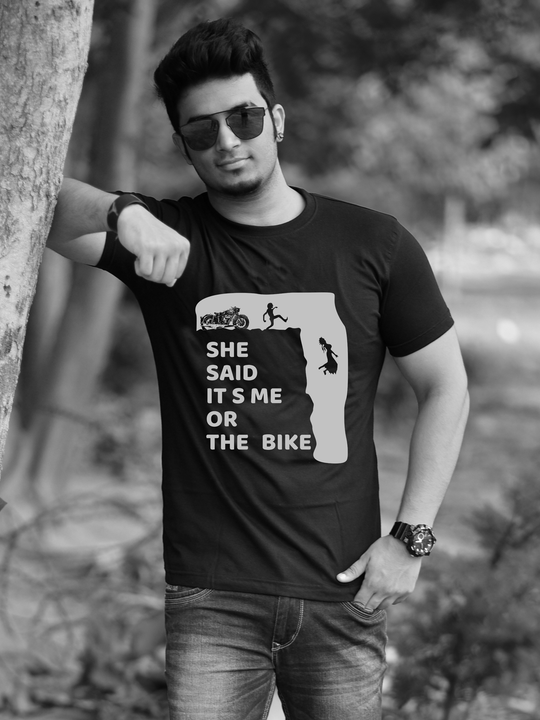 BIKE OR GIRL FRIEND- black half sleeves Tshirt