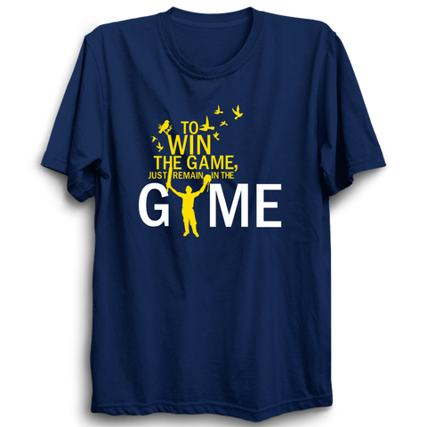 Win the game navy blue half sleeves Tshirt
