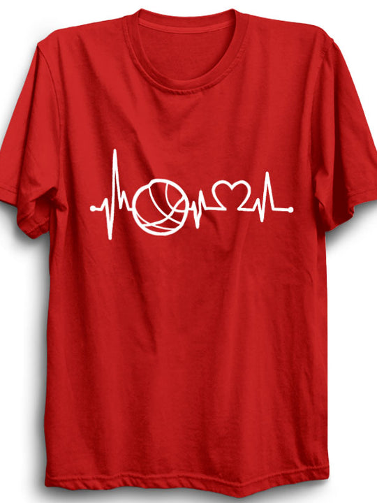 Basketball Heart Beat Red T-Shirt