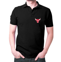 Black Chicago Bulls Polo T-Shirt