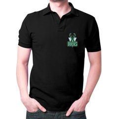 Black Milwaukee Bucks Polo T-shirt