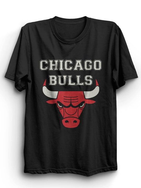 Chicago Bulls Black Half Sleeves T-Shirt ( Gray And Red Ink )