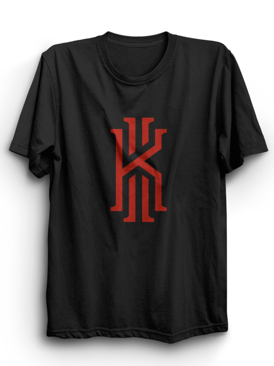 Kyrie Black Half Sleeves T-Shirt ( Red Ink )