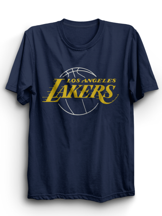 Lakers Navy Blue Half Sleeves T-Shirt