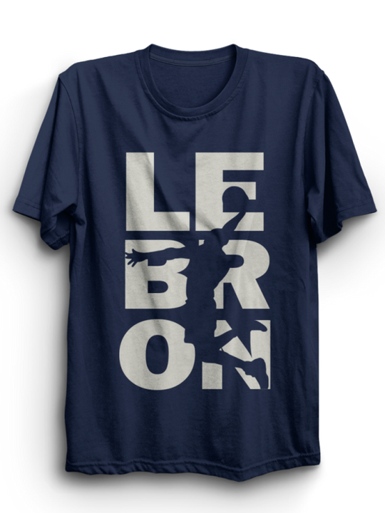 Lebron Navy Half Sleeves T-Shirt ( Gray Ink )