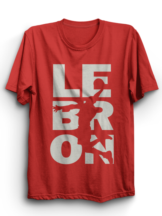 Lebron Red Half Sleeves T-Shirt ( Gray Ink )