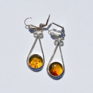 Caribbean Amber Long Earrings