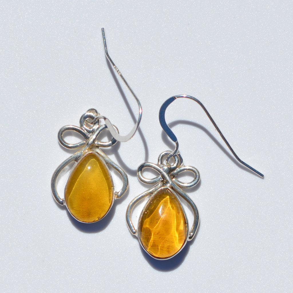 Caribbean Amber Bow Earrings