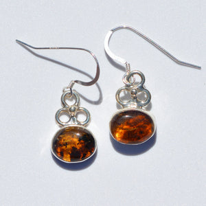 Caribbean Amber Flower Earrings