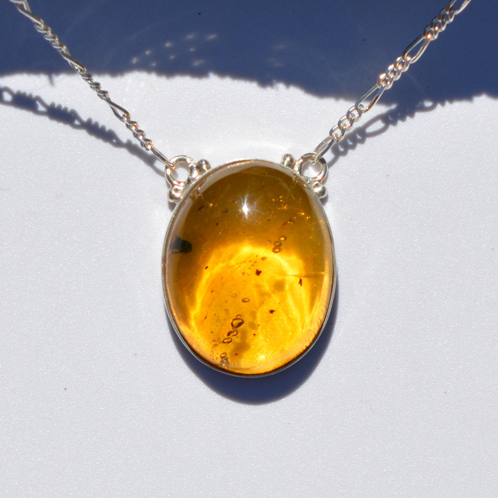Caribbean Amber large Oval Silver Necklace