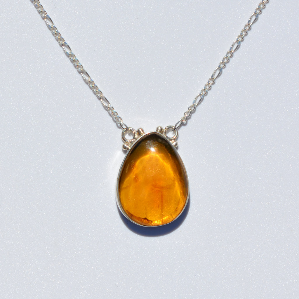 Caribbean Amber One Stone Necklace