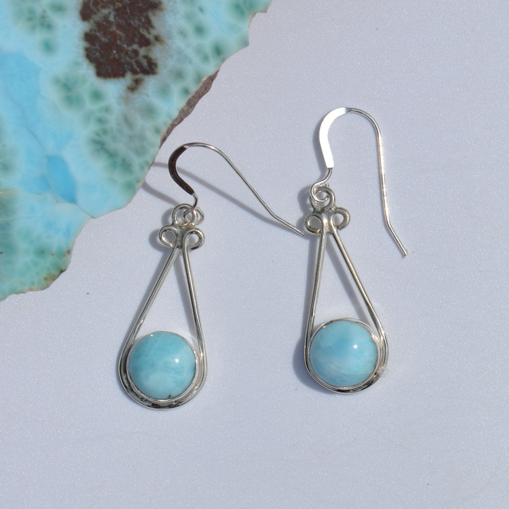 Larimar Long Dangle Earrings