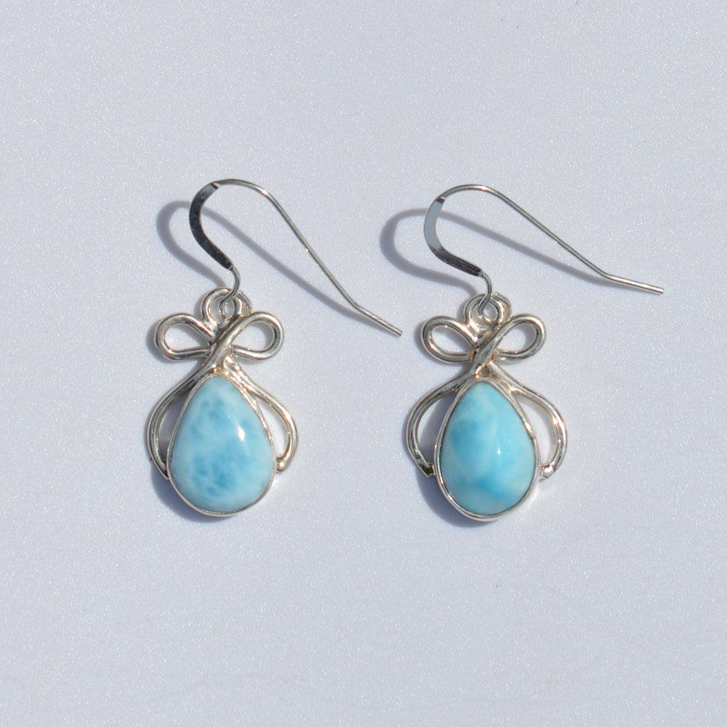 Larimar Bow Dangle Earring