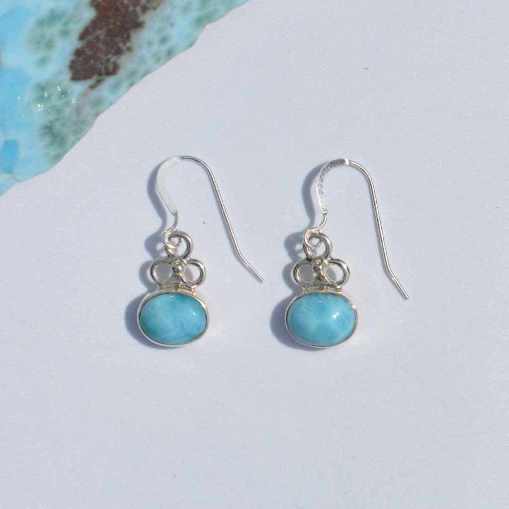 Larimar Flower Dangle Earrings