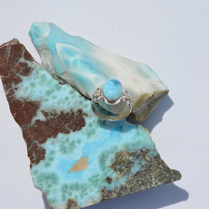 Larimar Medium Flower Ring