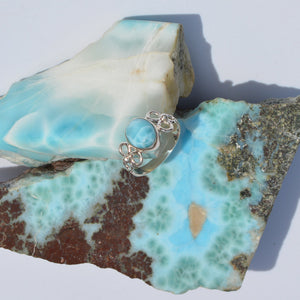 Larimar Small Flower Ring