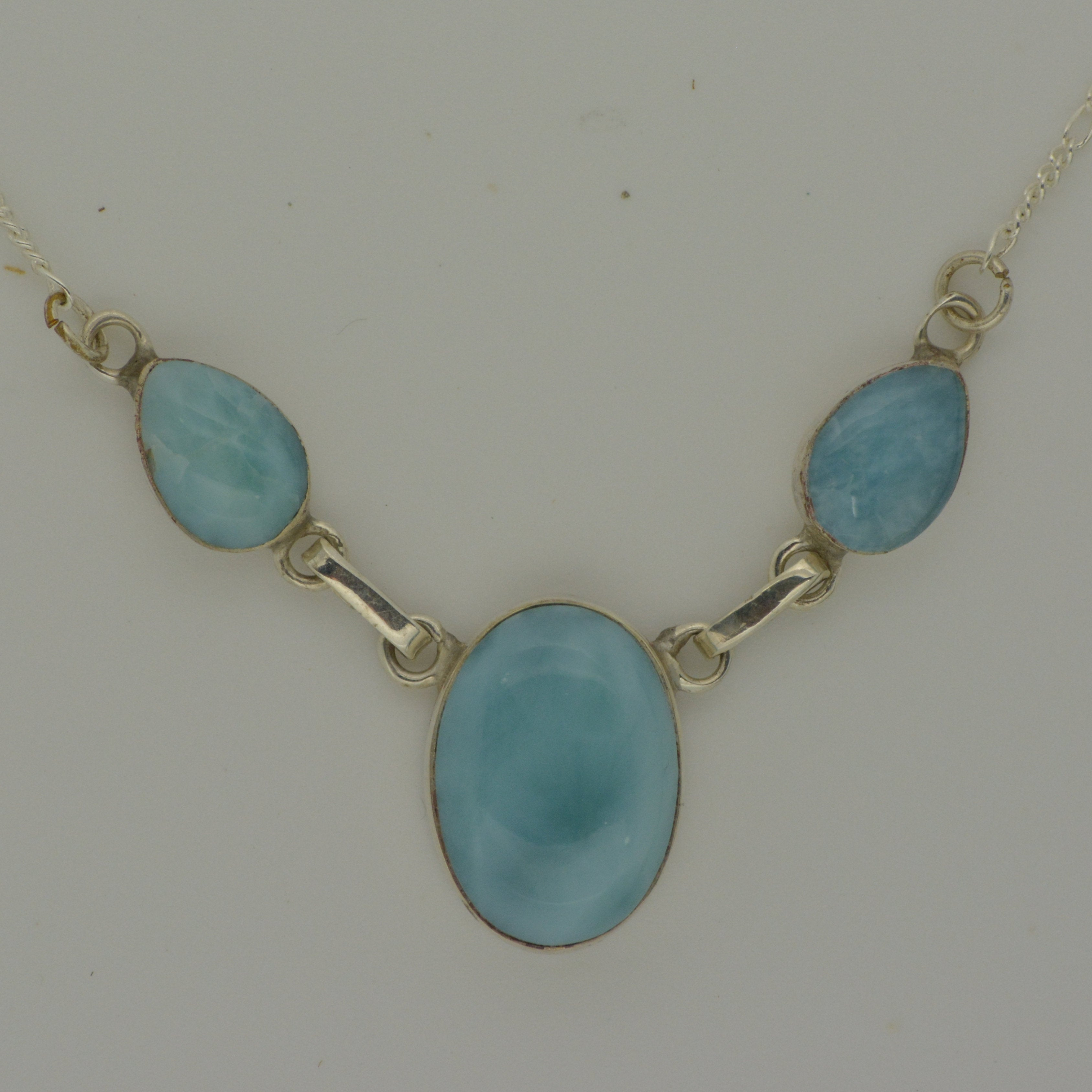 Larimar 3 Stone Necklace    7.8g